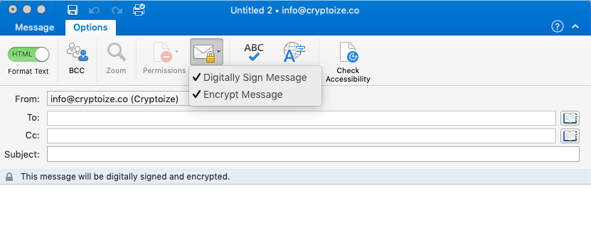 Encrypt message with Outlook email client