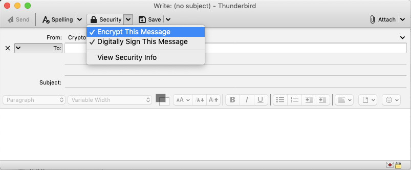 Encrypt message with Thunderbird email client